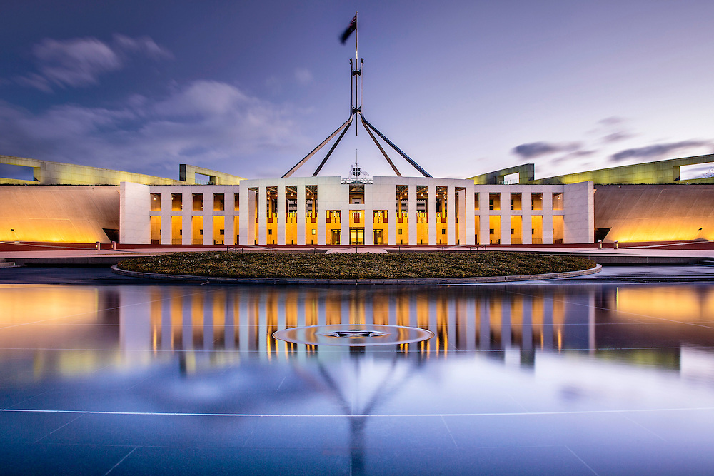 New Parliament House in Canberra, ACT, the Australian capital.